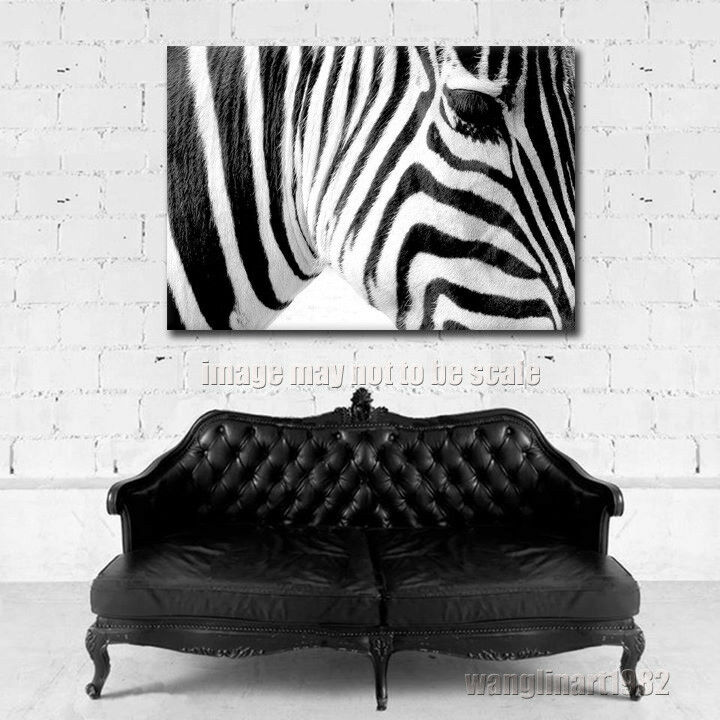 Modern zebra oil painting canvas print black and white for Black and white mural prints