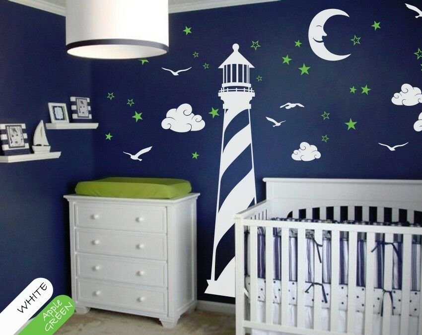 Vinyl Wall Decal Lighthouse Moon Stars Clouds Wall Decal