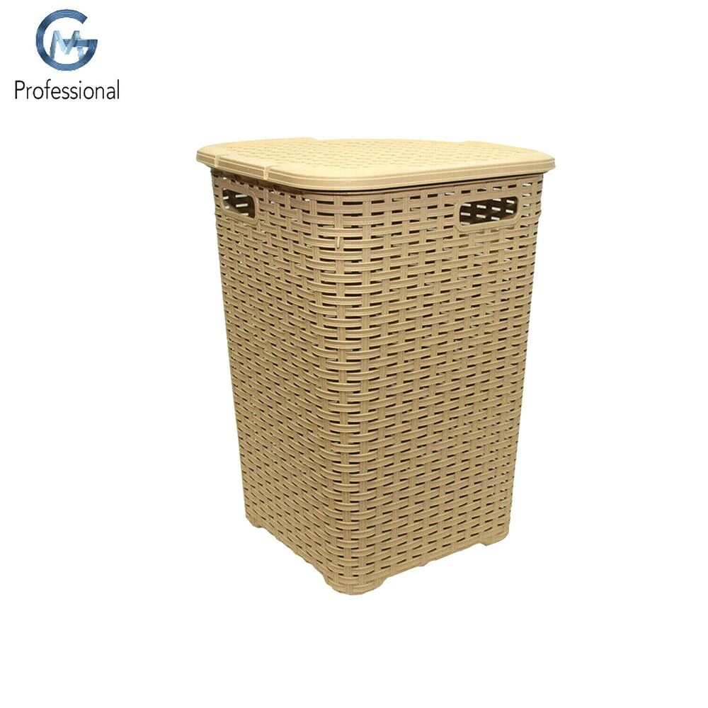 brown 52l litre woven style plastic corner large laundry. Black Bedroom Furniture Sets. Home Design Ideas