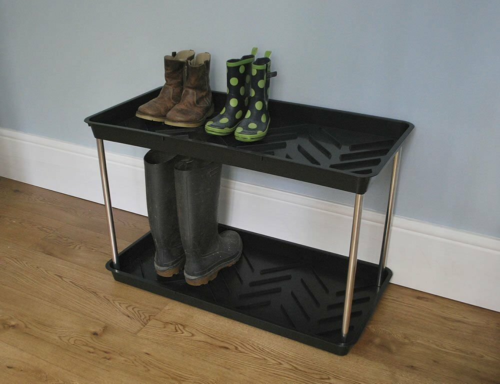 2 tier shoe and wellington boot rack tray welly boot storage stand ebay. Black Bedroom Furniture Sets. Home Design Ideas