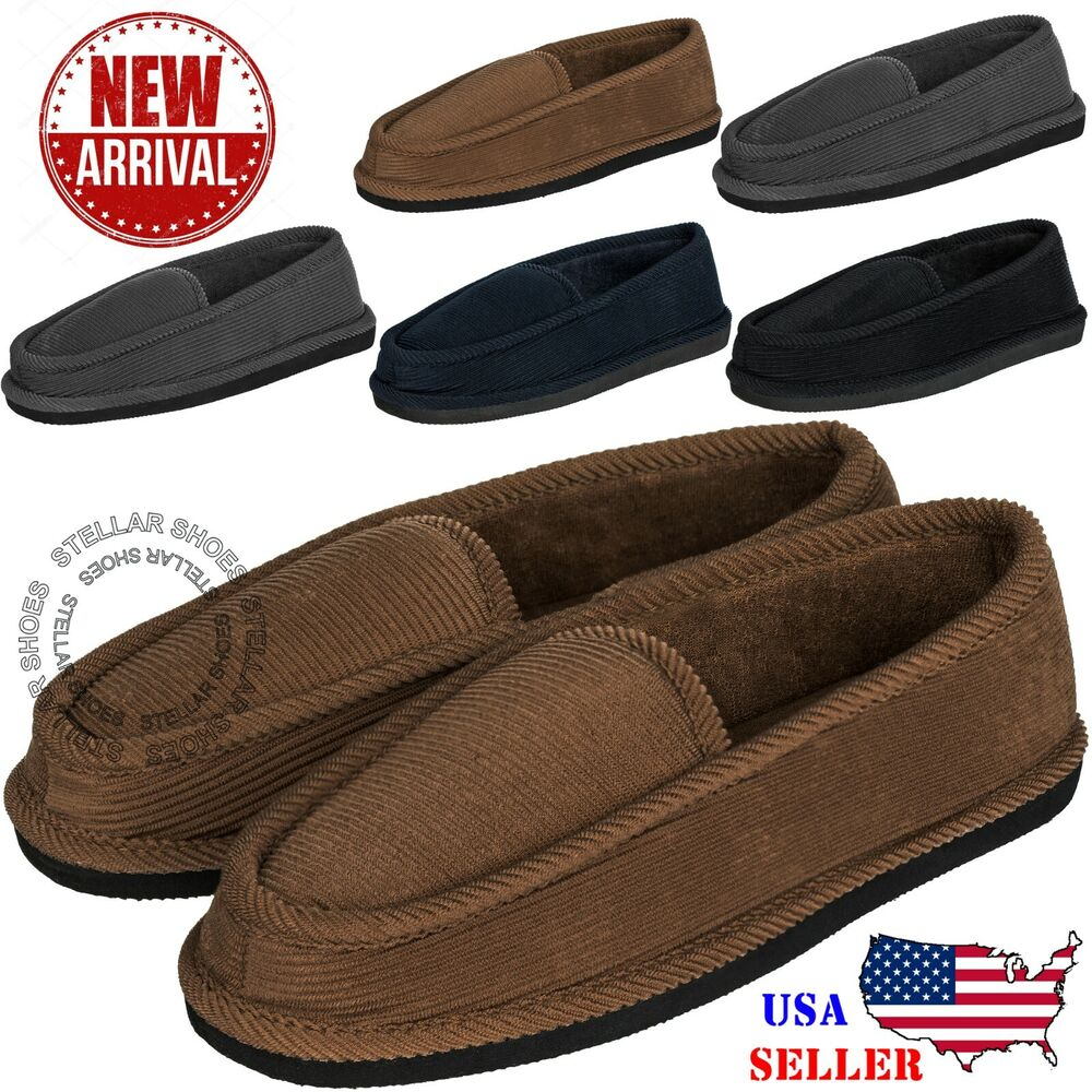 New Mens House Slippers Corduroy Moccasin Slip-on Men ...