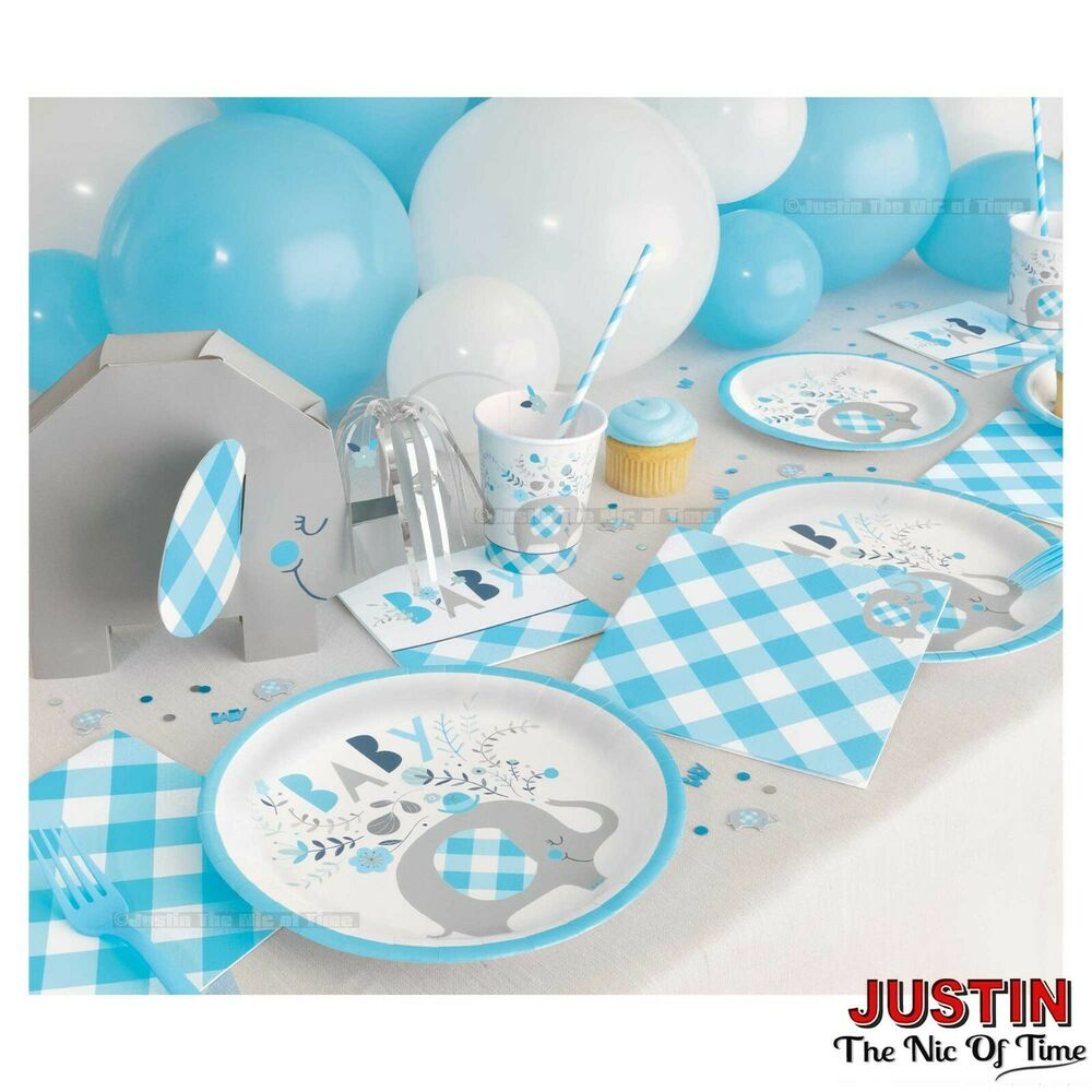 baby shower boy elephants tableware blue party supplies boys
