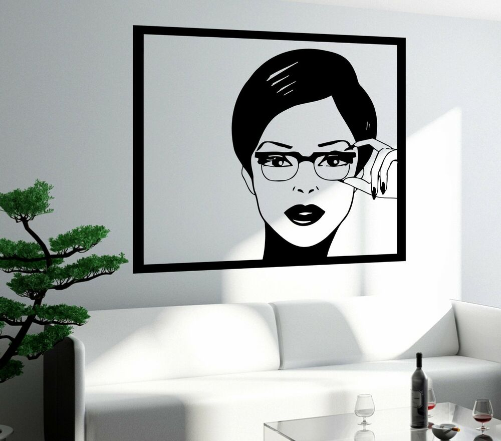 Wall Sticker Sexy Girl Woman Teen In Glasses Pop Art