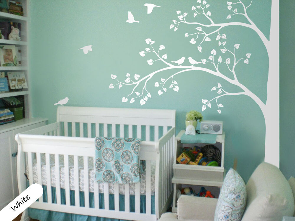 White tree wall decal corner tree wall decals nursery sticker decor mural 011 ebay for Wandtatoos babyzimmer