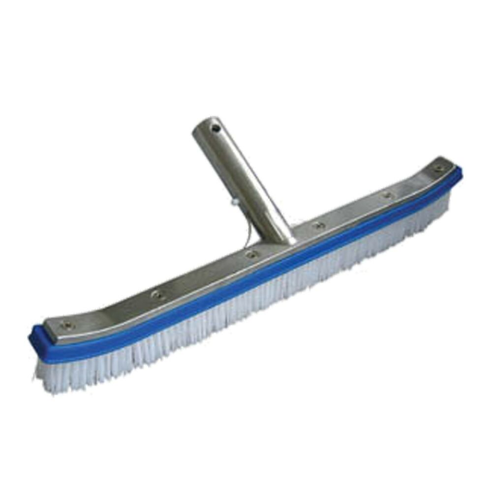 deluxe metal back swimming pool spa brush with white poly bristles ebay