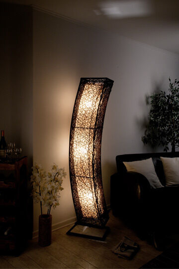 xxl stehlampe rattanlampe leuchte lampen stehlampen modern mit rattan neu ebay. Black Bedroom Furniture Sets. Home Design Ideas