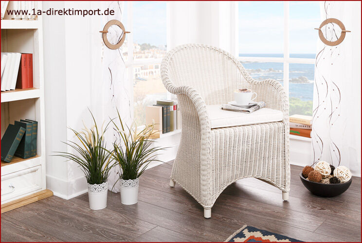 toller rattansessel wei sessel armlehnstuhl mit rattan antikwei shabby ebay. Black Bedroom Furniture Sets. Home Design Ideas