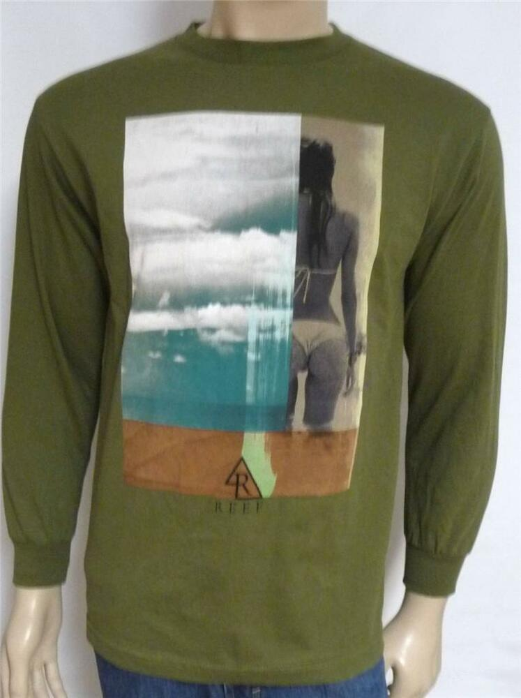 Reef Surf Sand Girl Graphic Tee Mens Olive Green Long