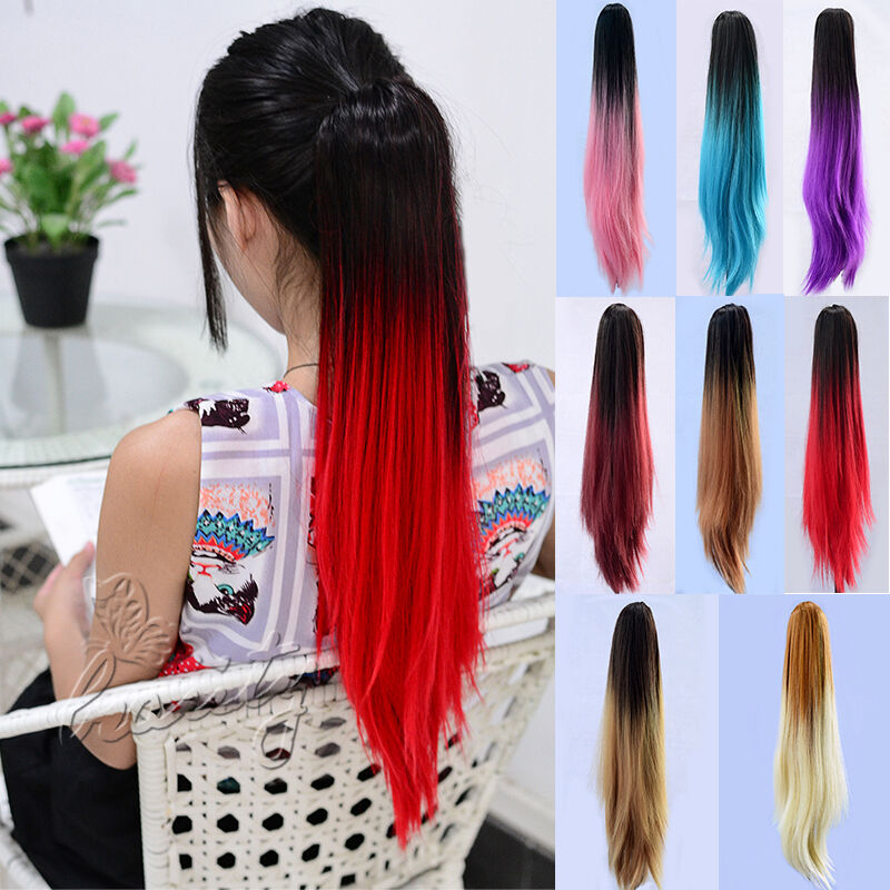Sexy Long Straight Ponytail Dip Dye Colour Clip In Hair