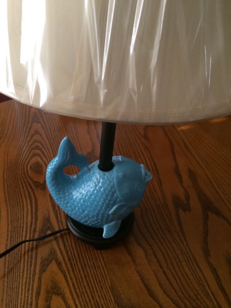 New Blue Fish Ceramic Table Lamp With Shade 6ft Cord Ebay