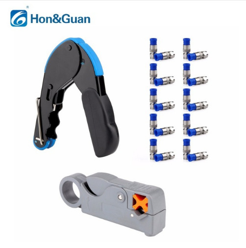 compression crimp coax cable cutter wire stripper stripping tool connector rg6 ebay. Black Bedroom Furniture Sets. Home Design Ideas