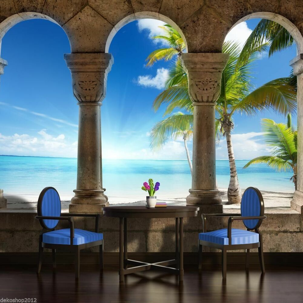 fototapete fototapeten tapete tapeten foto palmen meer strand paradise 3fx773p8 ebay. Black Bedroom Furniture Sets. Home Design Ideas