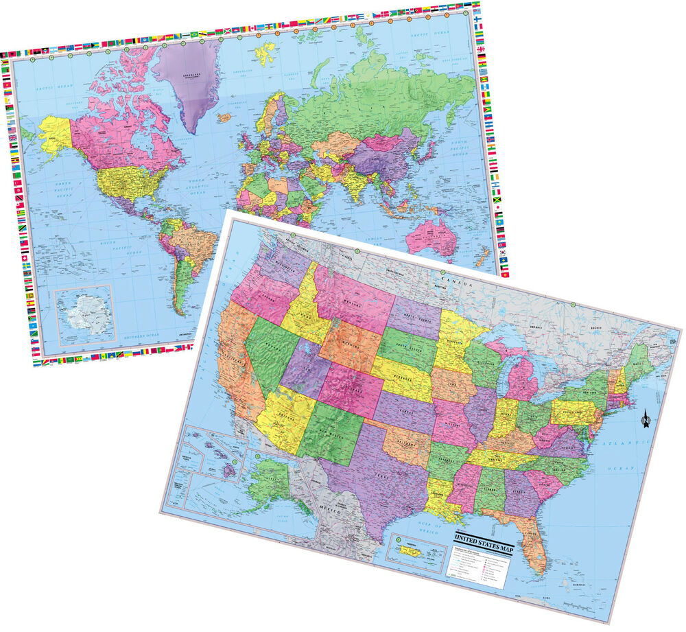 2017 UNITED STATES & World Wall Maps Posters - 2 Rolled