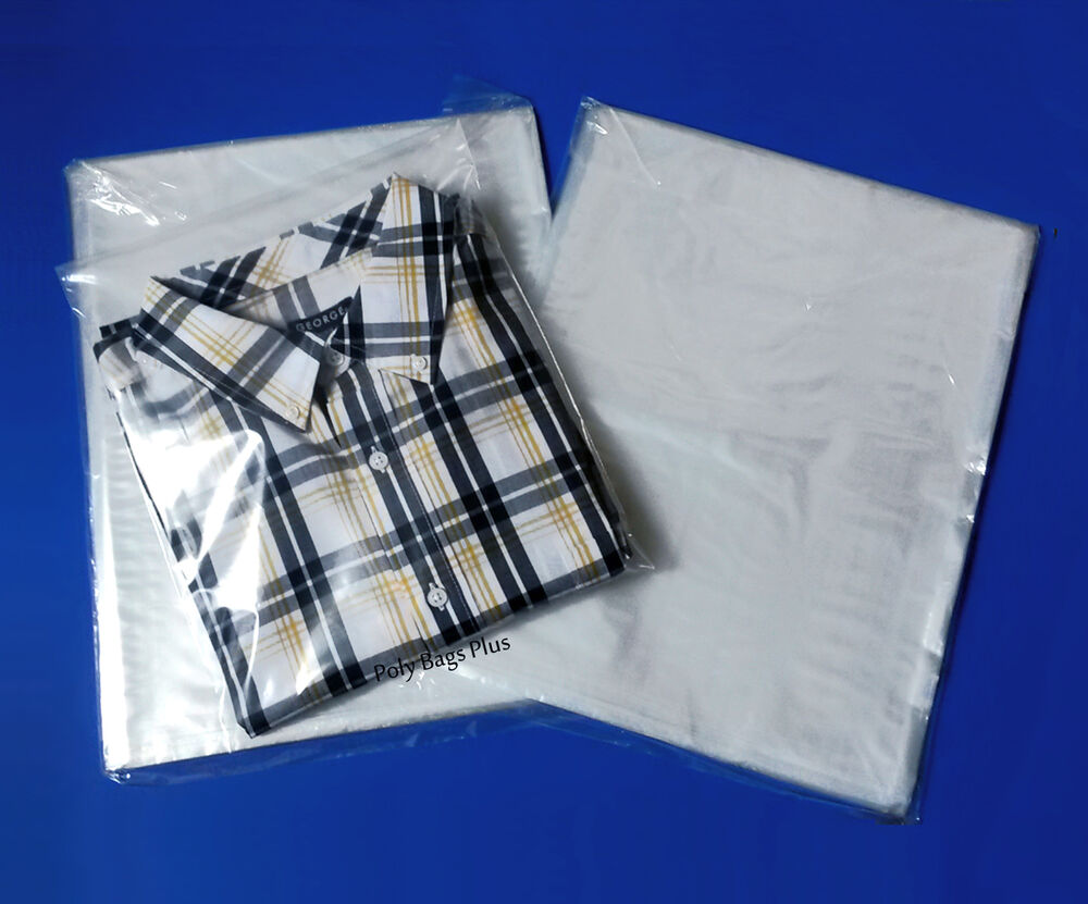12x15 clear poly bags lay flat open top end 1 mil case for Plastic t shirt bag