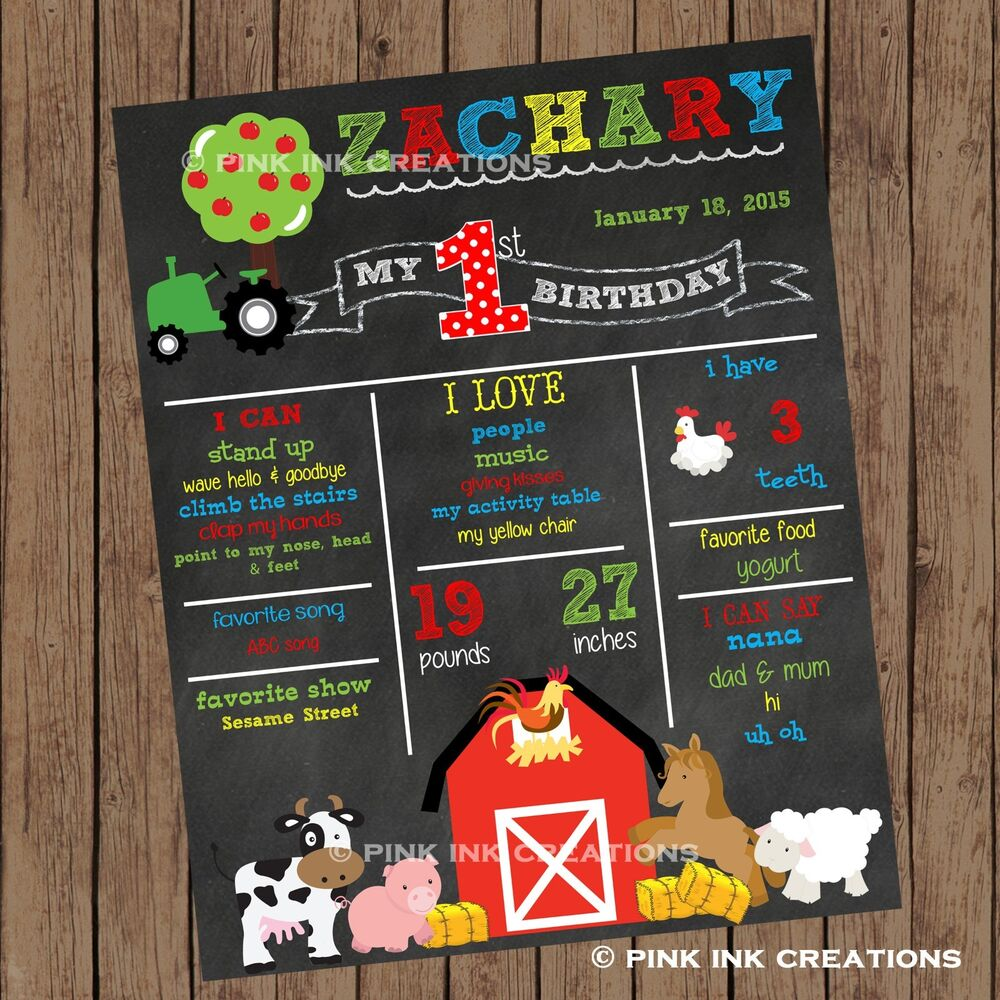 farm chalkboard birthday sign    barnyard first birthday