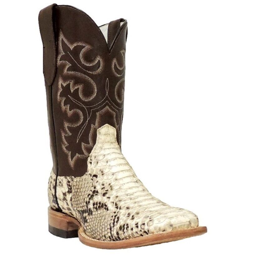 Cowtown Mens Square Toe Python Snakeskin Leather Cowboy
