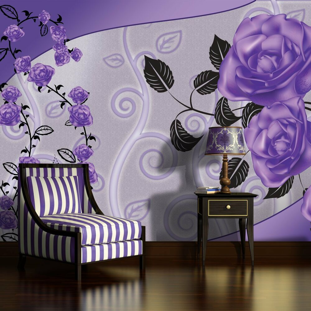 fototapete tapete tapeten fototapeten wandbild blume blumen lila rosa 3fx1824p8 ebay. Black Bedroom Furniture Sets. Home Design Ideas