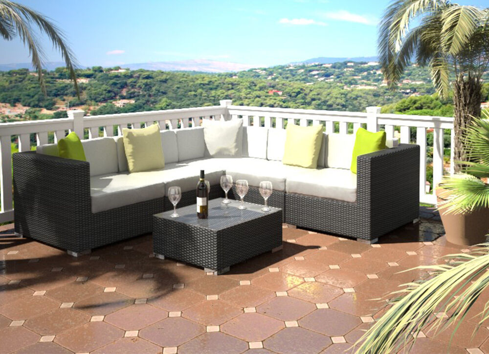 RATTAN OUTDOOR GARDEN SOFA SET WITH COFFEE TABLE LOUNGE ...
