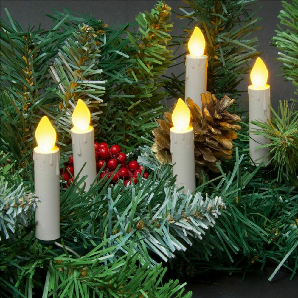 String Lights In Trees: 10 LED 3in Taper Candle String Lights Battery Clip-On Tree
