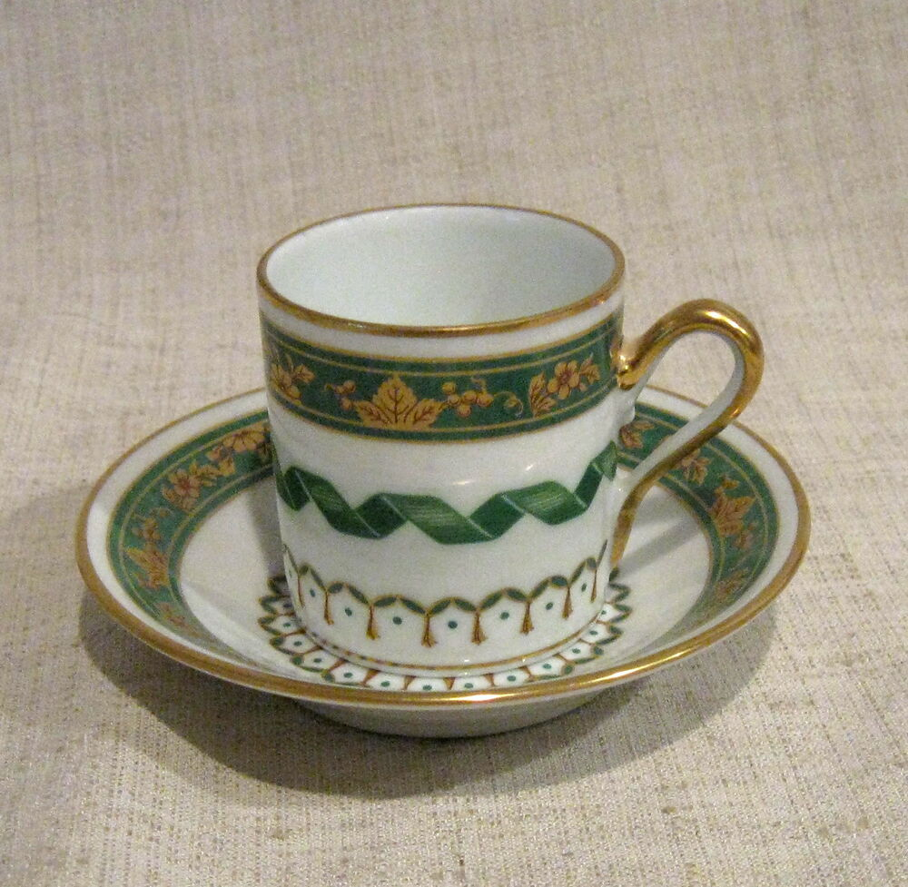 6 richard ginori pincio green demitasse cups and saucers ebay. Black Bedroom Furniture Sets. Home Design Ideas