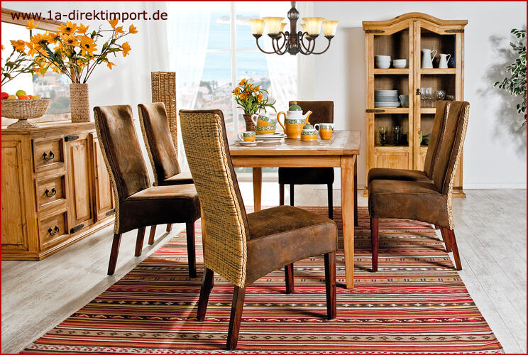 exklusiver polsterstuhl leder optik mit rattan. Black Bedroom Furniture Sets. Home Design Ideas