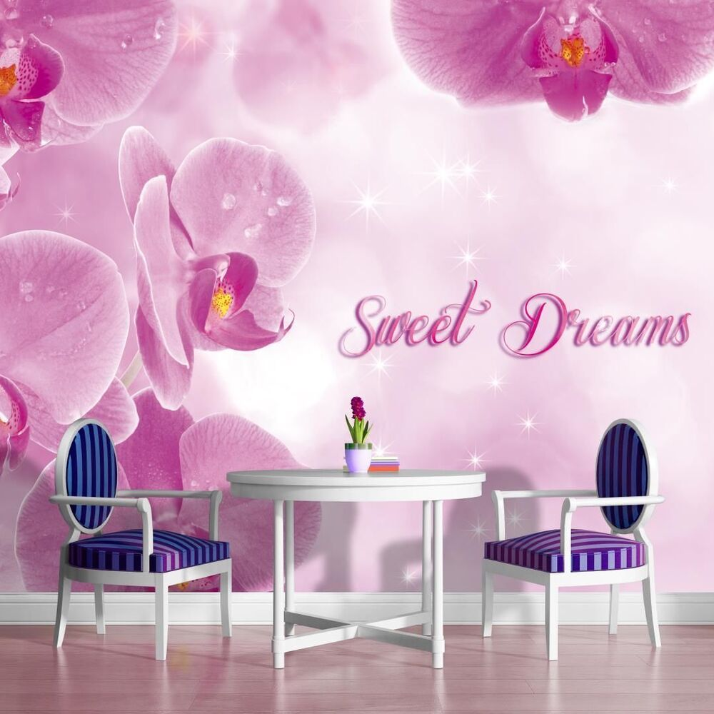 vlies fototapete fototapeten wandtattoo spr che sweet dreams orchideen 3fx778ve ebay. Black Bedroom Furniture Sets. Home Design Ideas
