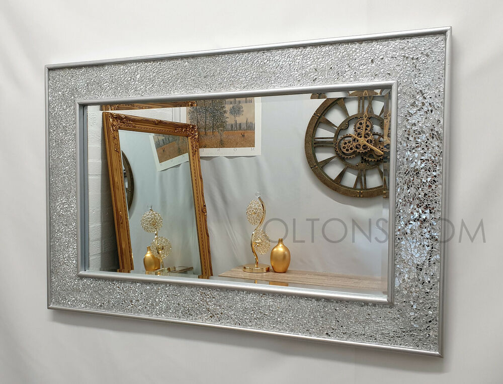 Crackle design wall mirror plain silver frame mosaic glass for Mirror design