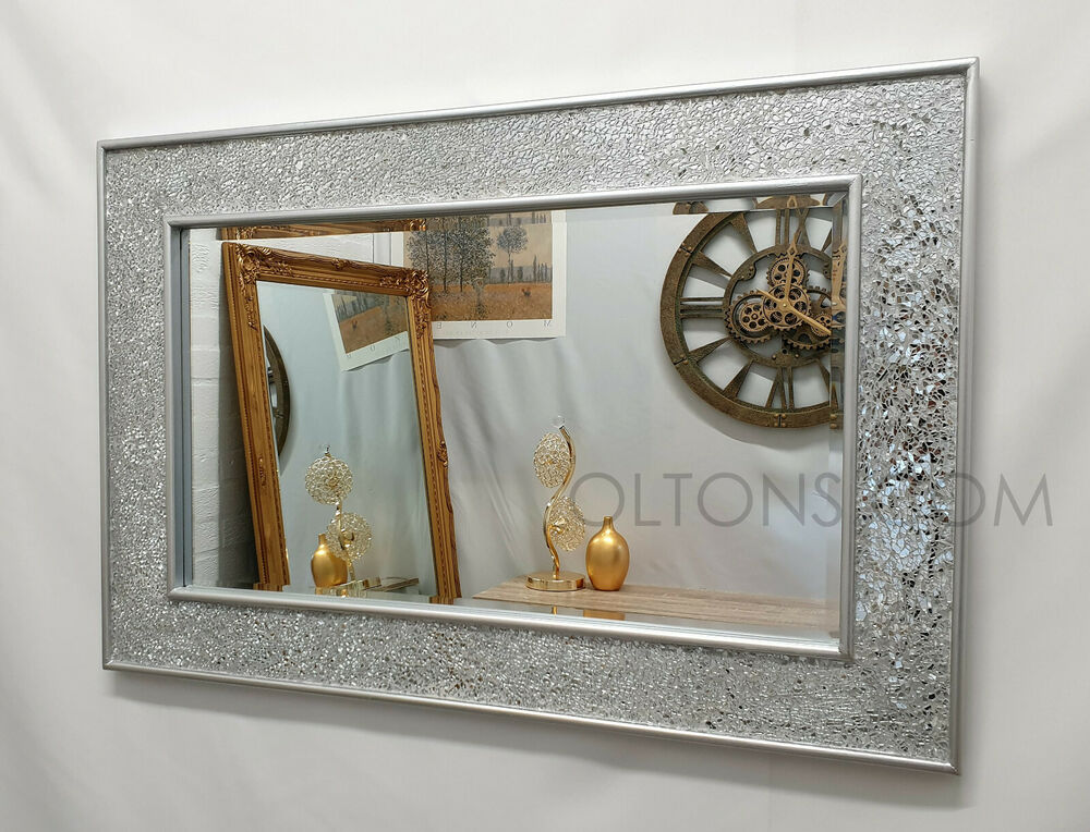Crackle design wall mirror plain silver frame mosaic glass for Wall mirror design
