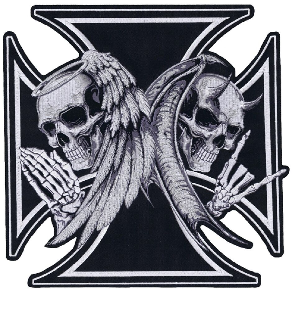 Large iron cross death devil skull angel skull - Devil skull wallpaper ...