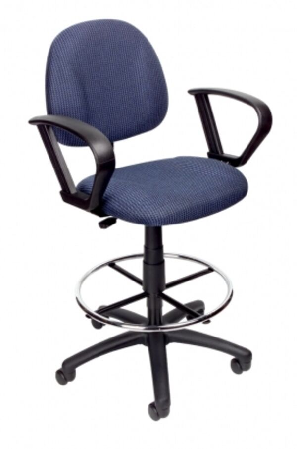 Boss Office Products Blue Drafting Stool With Footring And Loop Arms B1617 BE