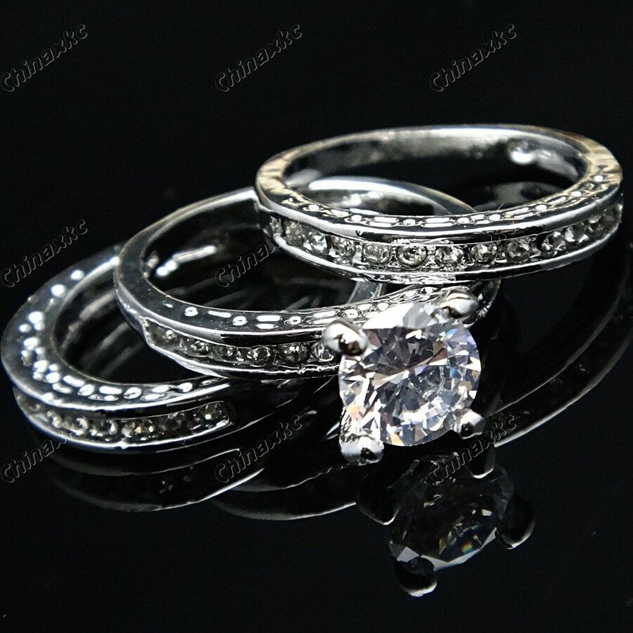 3 in 1 cubic zircon white gold women bridal band ring for Jewelry wedding rings