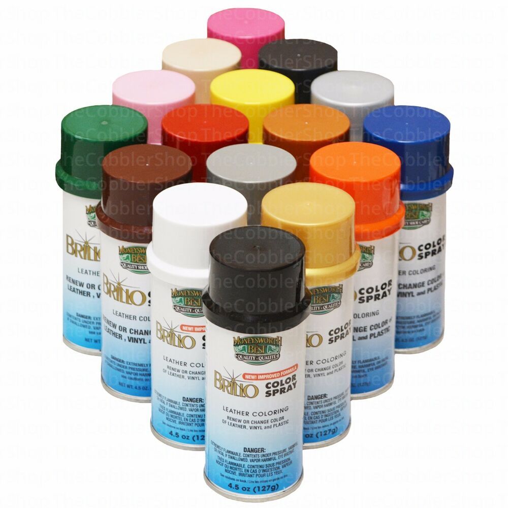 brillo color spray leather vinyl paint dye 4 5 oz all 54 colors always fresh ebay. Black Bedroom Furniture Sets. Home Design Ideas
