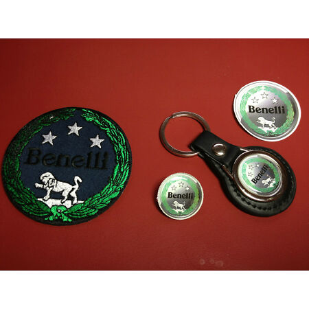 img-BENELLI, LEATHER KEY RING, BADGE & PATCH SET & FREE ` BENELLI` PHONE STICKER