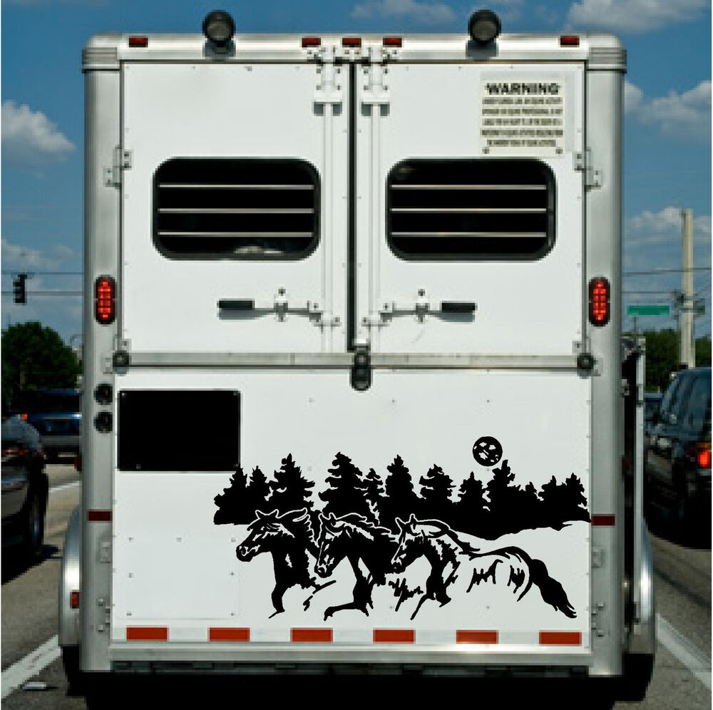 Running horses border horse trailer truck rv camper decal for Decals for rv mural