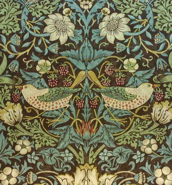 william morris vintage wallpaper strawberry thief chocolate slate sold per roll ebay. Black Bedroom Furniture Sets. Home Design Ideas