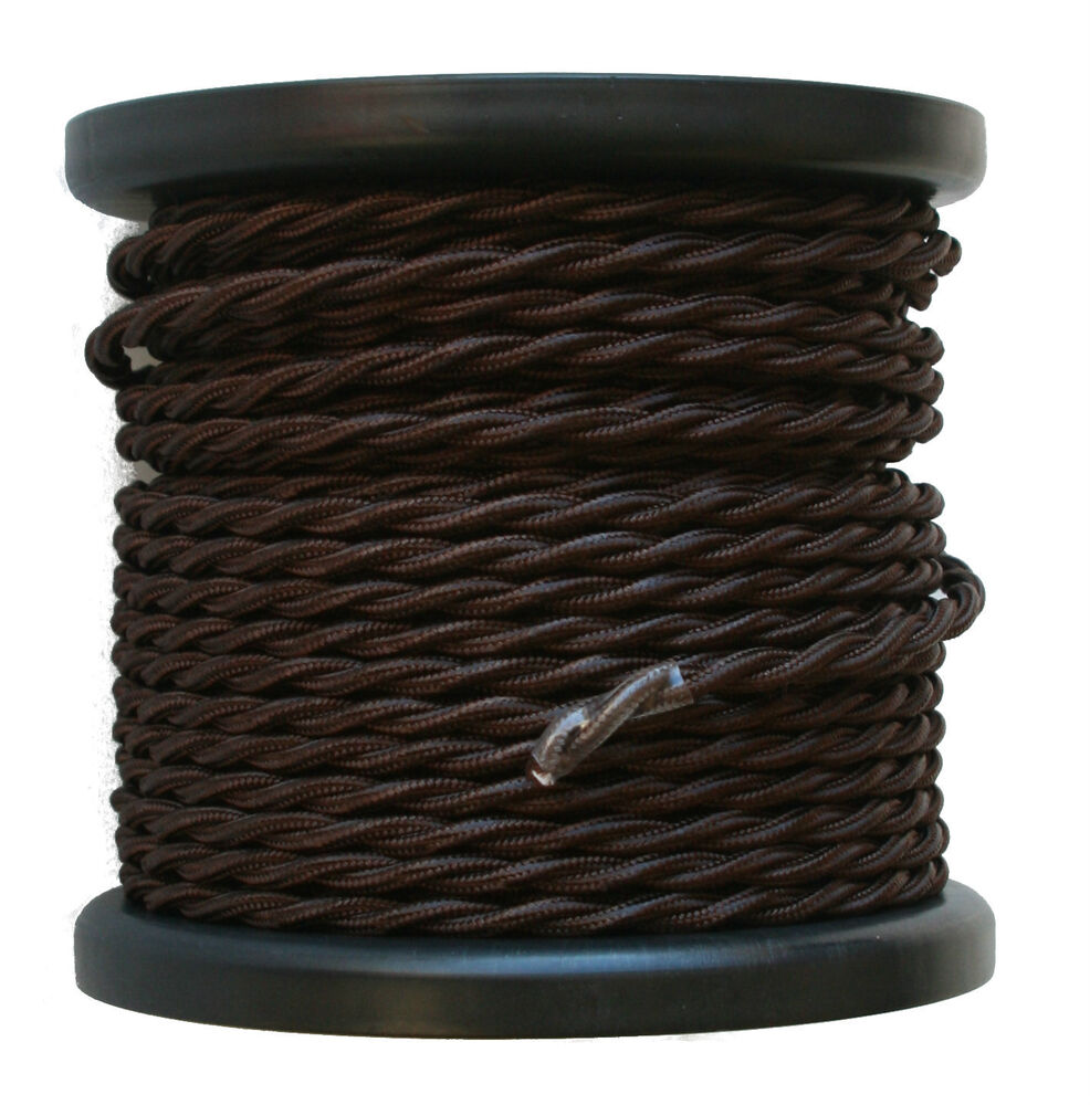 brown twisted rayon covered wire antique style cloth lamp cord. Black Bedroom Furniture Sets. Home Design Ideas