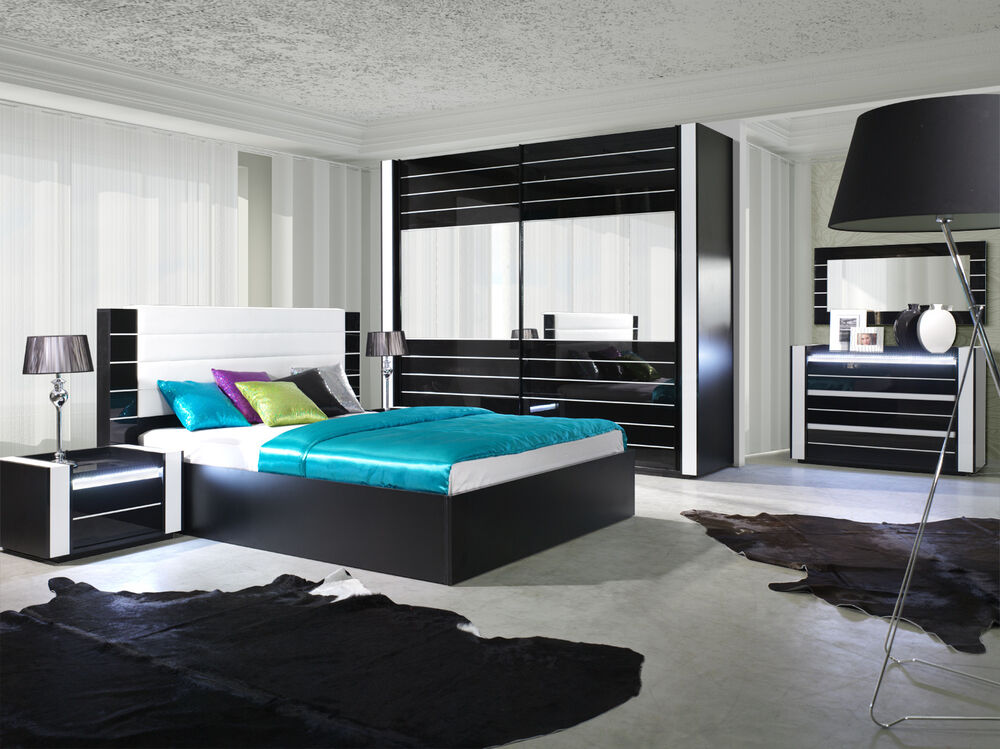 hochglanz schlafzimmer komplett linn bett kleiderschrank. Black Bedroom Furniture Sets. Home Design Ideas
