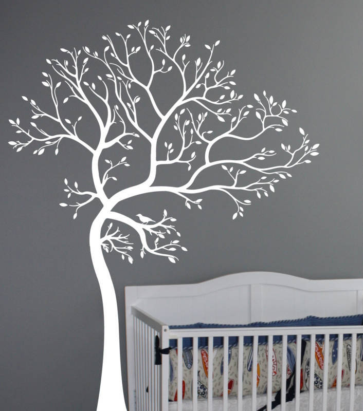 7ft large wall decal tree with bird deco art sticker for Deco mural stickers
