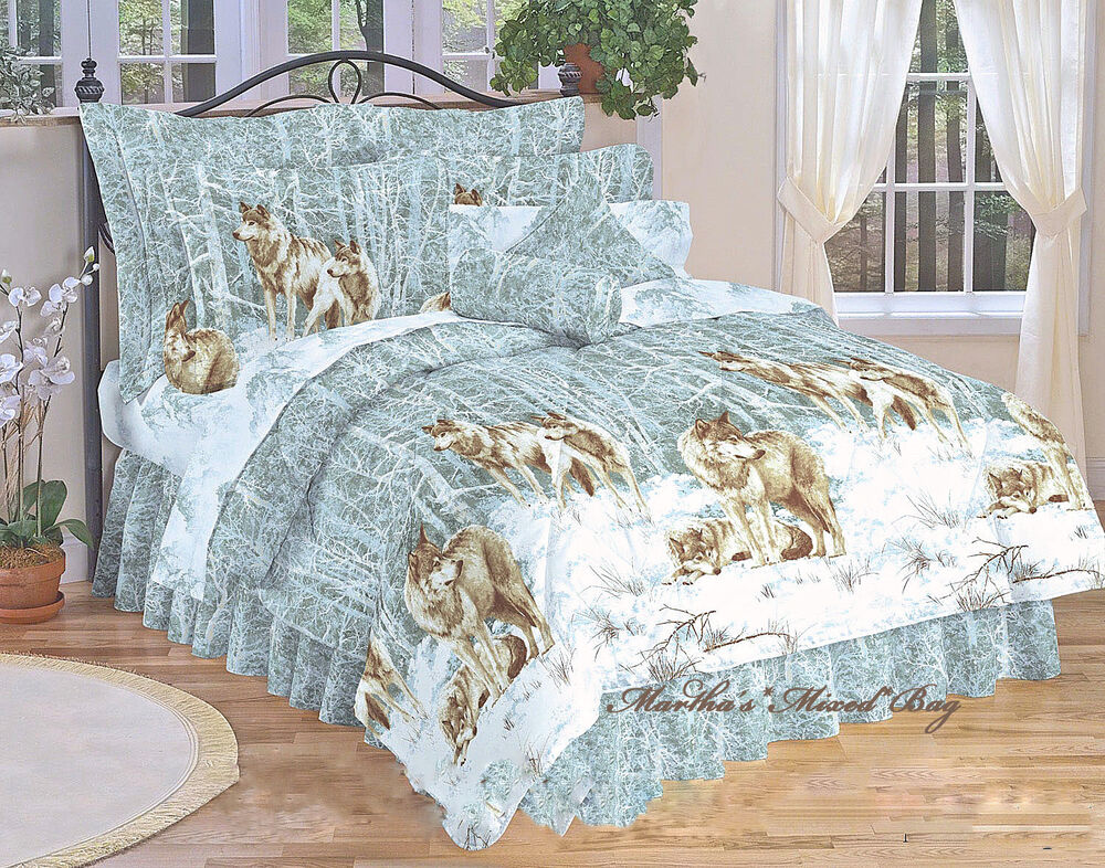 9pc S Wolves North Country Cabin Lodge King Size Comforter