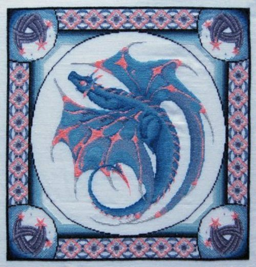 Dracolair Creations Evening Dreaming Dragon Cross Stitch
