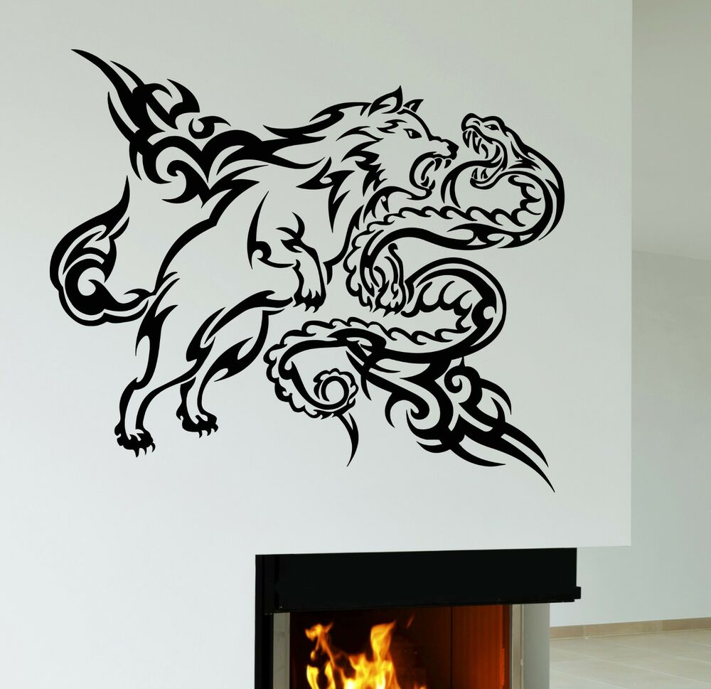 Wall decal wolf snake tribal animal vinyl stickers art for Decal wall art mural