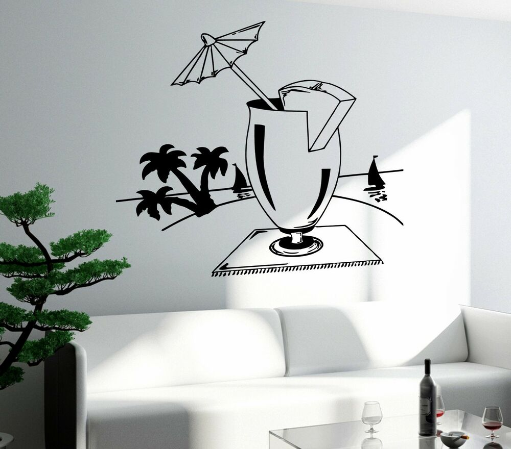 Wall decal bar drink alcohol cool funny decor for living for Room decor art