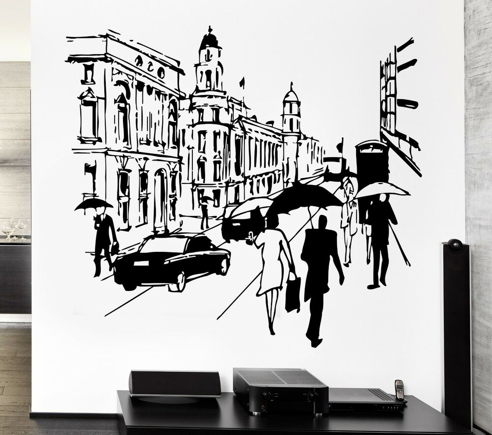 12 Lamps Wall Decor By World Traveler : Wall Decal London Street England English Europe Travel Decor For Bedroom (z2640) eBay
