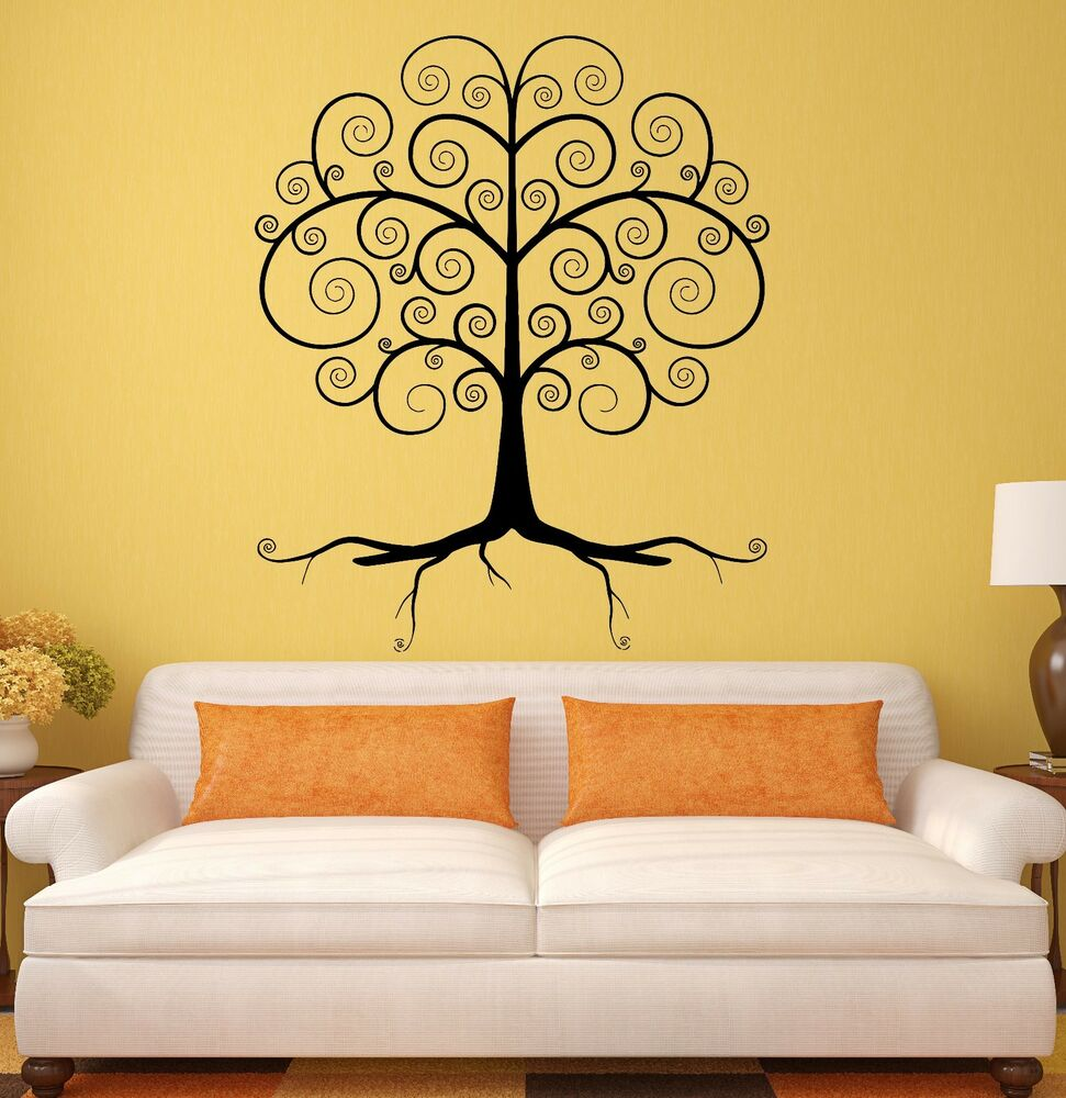 Wall decal beautiful tree forest woodland decor vinyl for Tree wall art