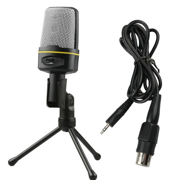 Pro Condenser Mini Stand Microphone Mic 3 5mm Jack For Pc