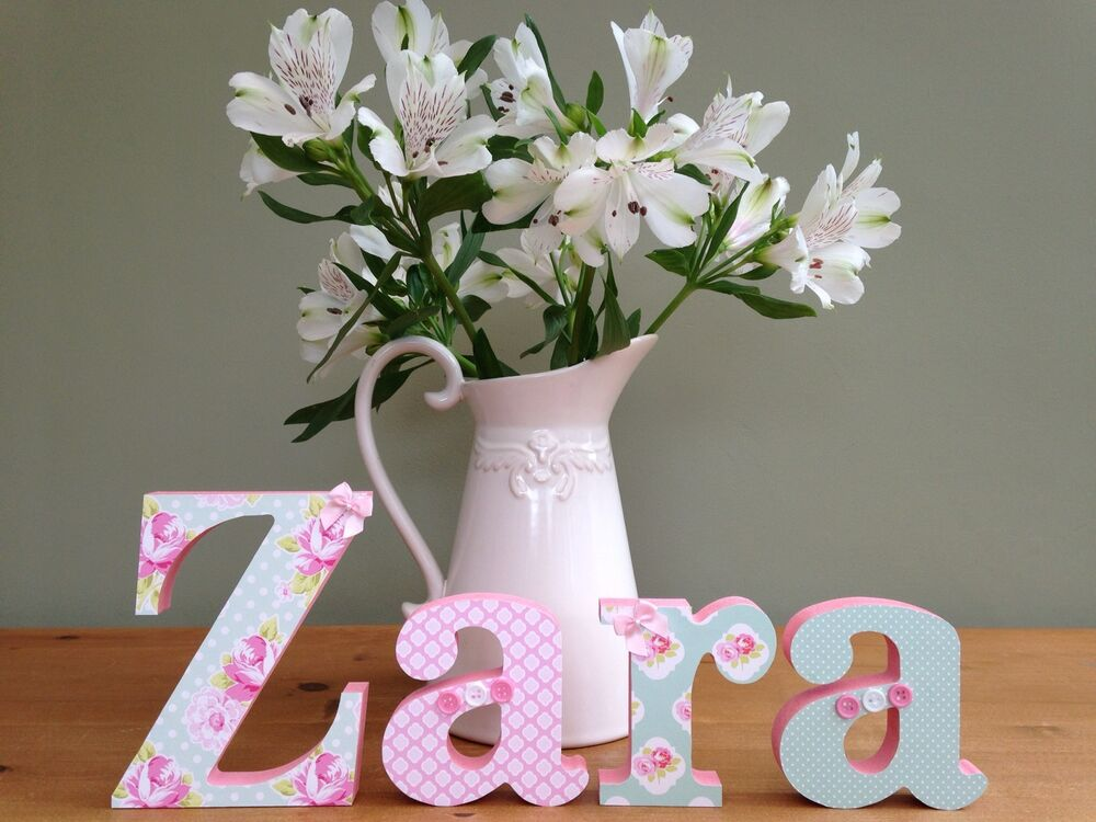 Handmade Baby Gifts Uk : Girls handmade personalised wooden name letters childrens