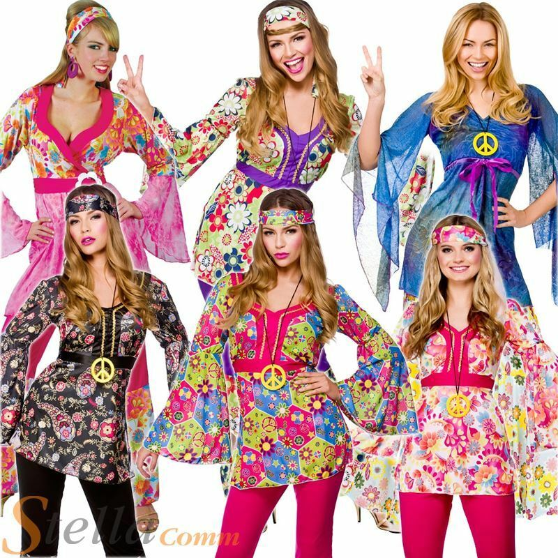 Ladies Hippie 60s 70s Hippy Flower Fancy Dress Costumes Flares Adult Outfit Ebay