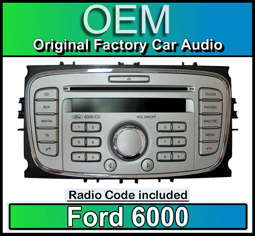 ford 6000 cd player silver ford focus car stereo headunit with radio code ebay. Black Bedroom Furniture Sets. Home Design Ideas