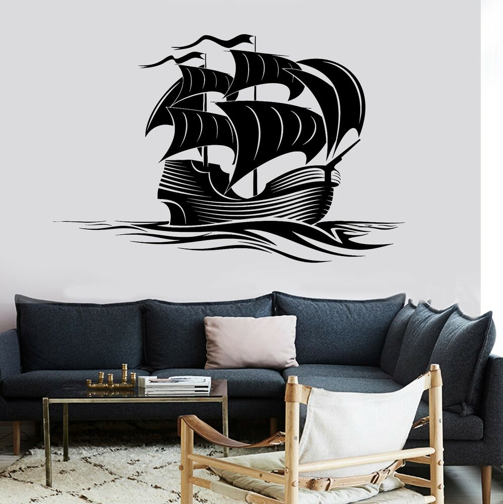 wall decal sail boat ocean marine sea waves vinyl sticker. Black Bedroom Furniture Sets. Home Design Ideas