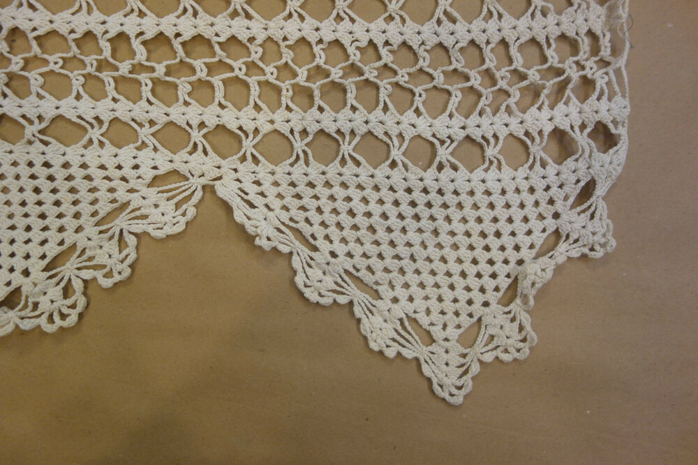 Antique Hand Crocheted Ivory Lace Curtain Panels Used On